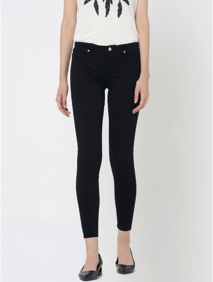 Black Mid Rise Slim Pants