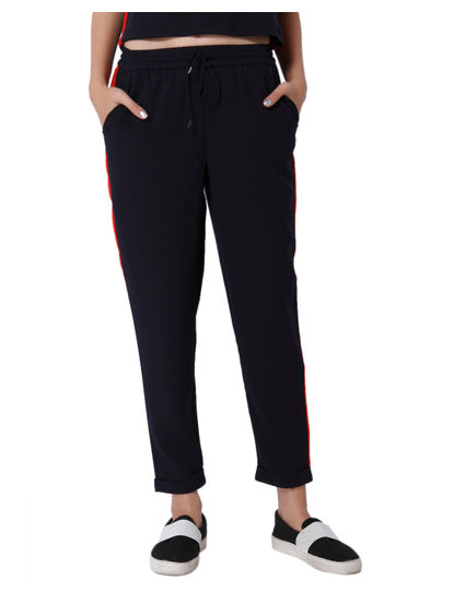 Dark Blue Panelled Mid Rise Pants