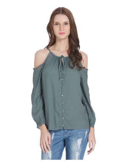 Peach Cold Shoulder Shirt