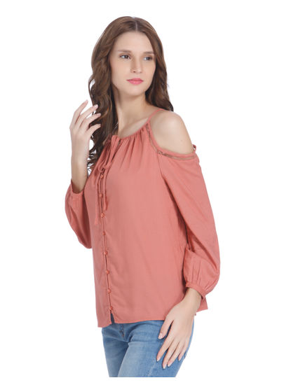 Peach Cold Shoulder Shirt