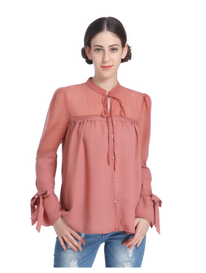 Rust Mesh Insert Knotted Sleeves Shirt