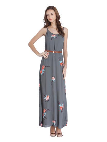 Grey Floral Print Maxi Dress