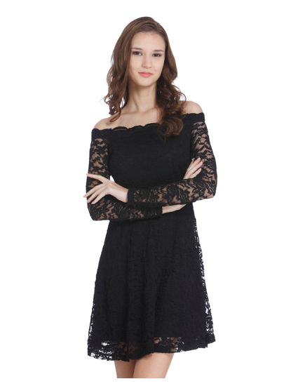 Black Lace Off Shoulder Mini Dress