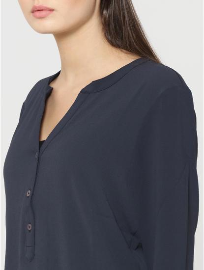 Dark Blue Band Collar Top