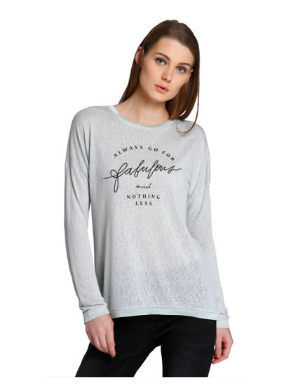 Grey Text Print T-Shirt