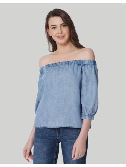 Blue Off Shoulder Denim Top