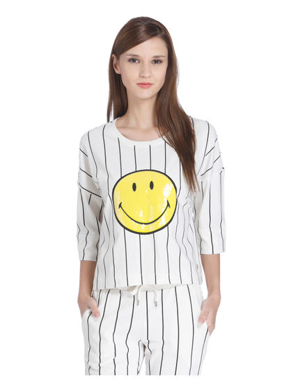 White Sequinned Smiley Print T-Shirt