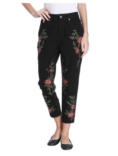 Black Floral Embroidered Slim Jeans