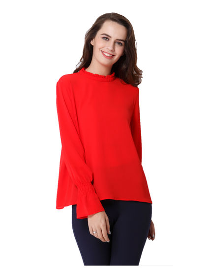 Bright Red Smock Top