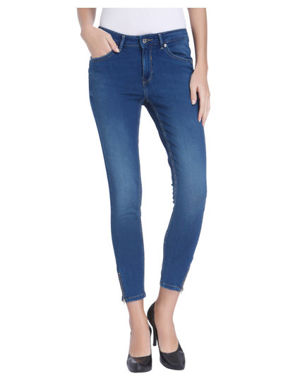 Blue Ankle Zip Skinny Fit Jeans