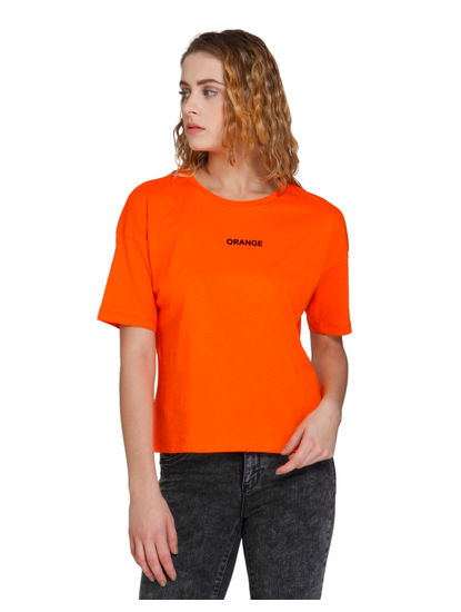 Orange Text Print T-Shirt