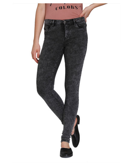 Grey Eyelet Detail Medium Rise Skinny Fit Jeans