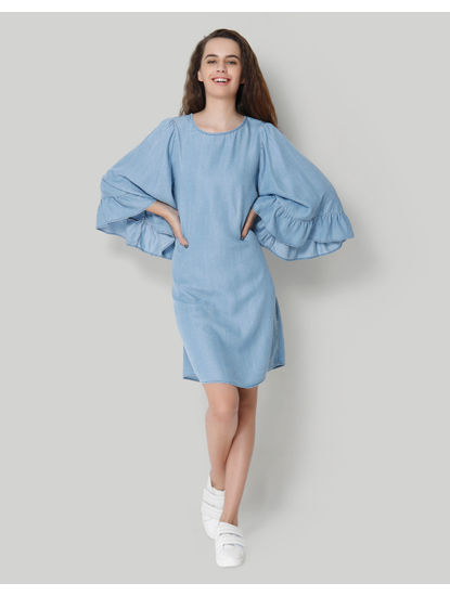 Blue Flared Sleeve Denim Midi Shift Dress