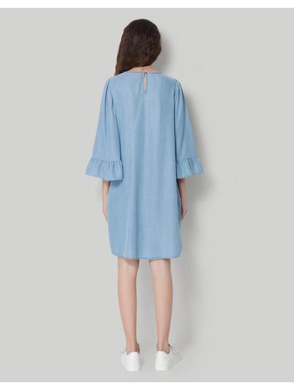 Blue Flared Sleeve Denim Midi Shift Dress
