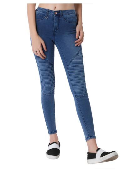 Blue Biker Mid Rise Skinny Fit Jeans