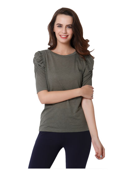 Green Puff Sleeves Top