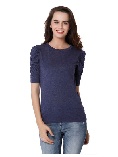 Blue Ruched Sleeves Top