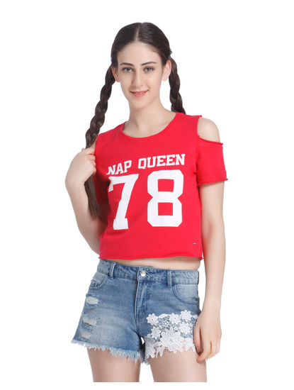 Red Cold Shoulder Slogan Print Sweatshirt