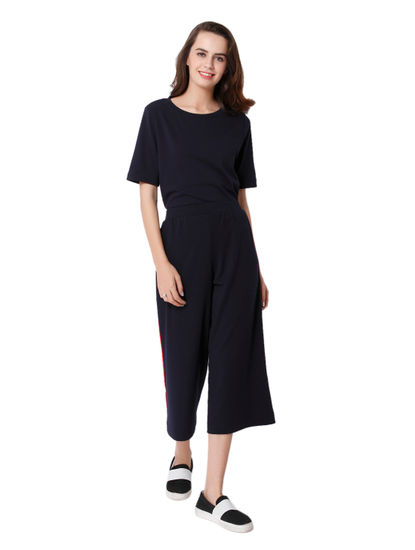Dark Blue Red Panel Culottes