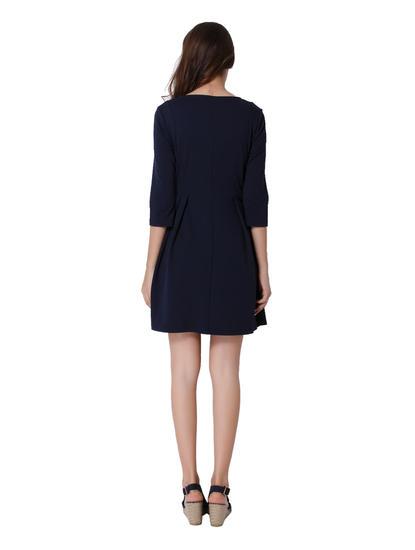 Dark Blue Fit & Flare Dress