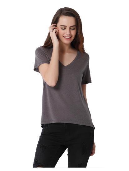 Grey Studded V-Neck Top