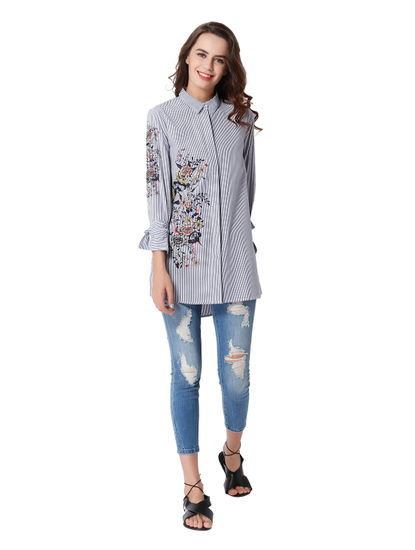 White Striped Embroidered Long Shirt