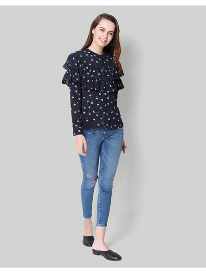 Blue Floral Full Sleeve Flounce Shirt
