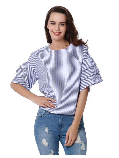 White Striped Frill Tiered Sleeves Top