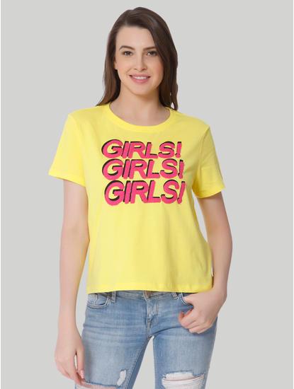 Yellow Text Print Box T-Shirt