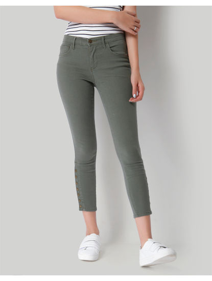 Olive Button Detail Mid Rise Skinny Fit Pants