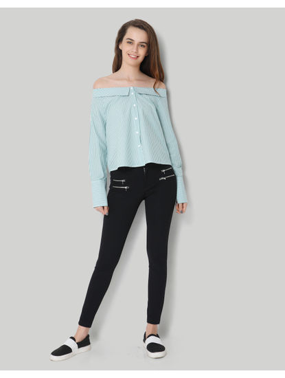 Green Striped Collared Off Shoulder Shirt