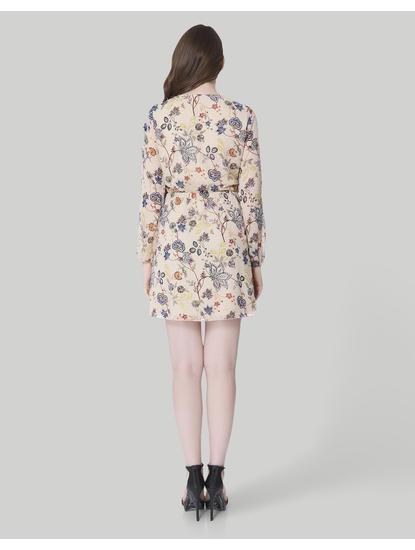 Beige Floral Print Wrap Mini Dress