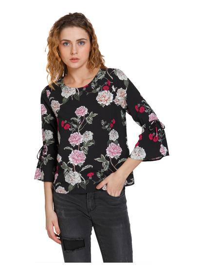 Black Floral Print Flared Sleeves Top