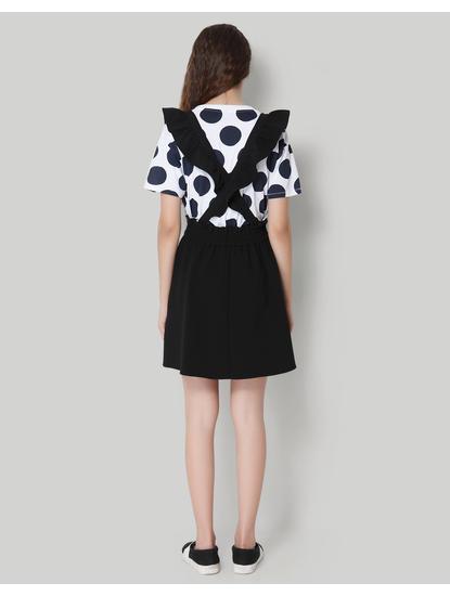 Black Dungaree Midi Skirt