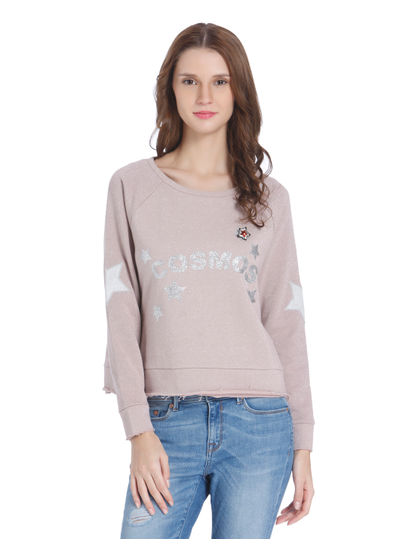 Light Pink Star Print Shimmery Sweatshirt