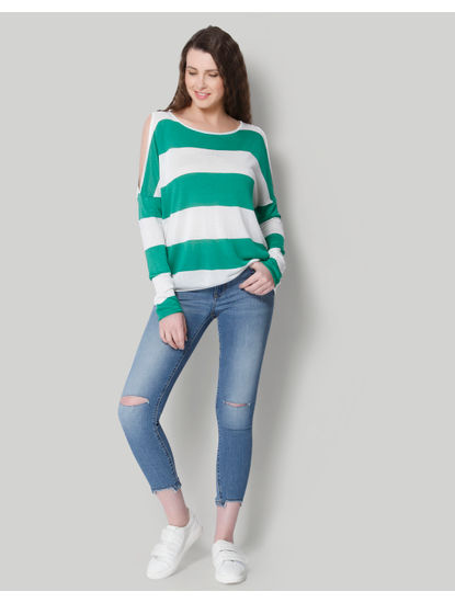 White & Green Striped Cold Shoulder Pullover