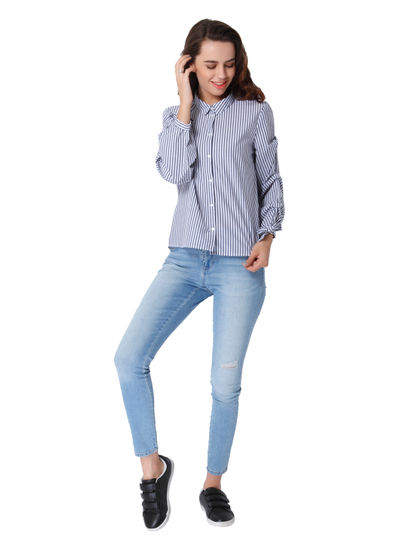 White Striped Knot Sleeves Shirt