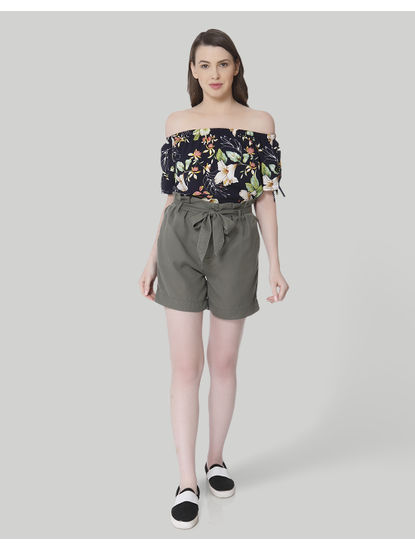 Olive Green Self Tie Slim Shorts