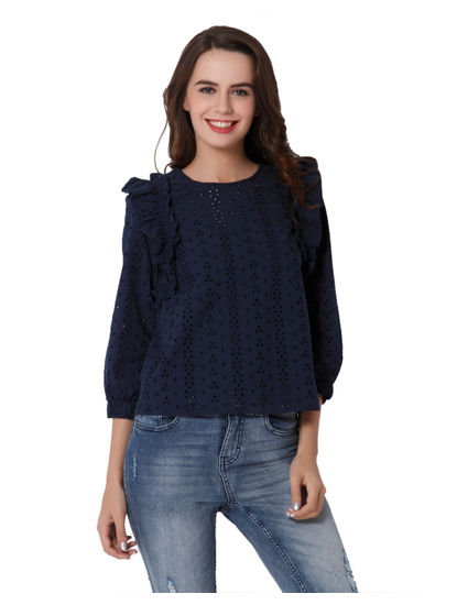 Dark Blue Cutwork Embroidery Top