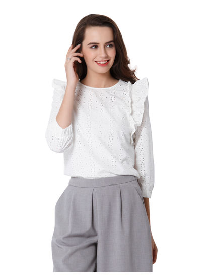 White Cutwork Embroidery Frill Top