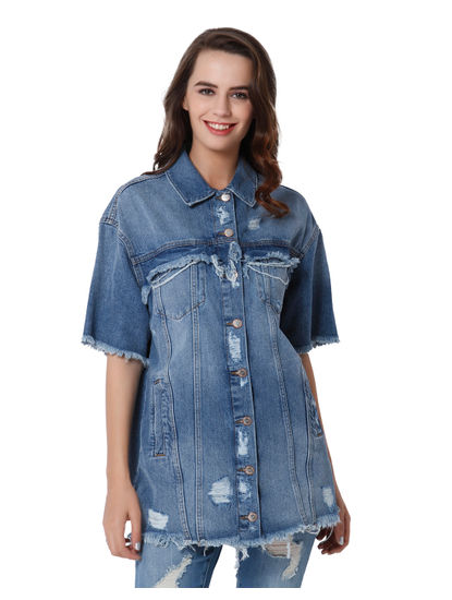 Blue Oversized Text Print Frayed Denim Shirt