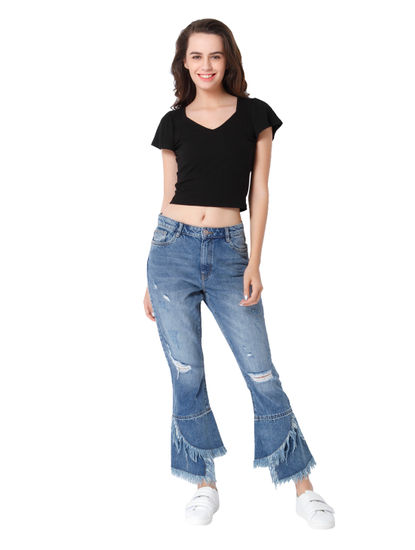 Light Blue High Rise Comfort Fit Distressed Jeans