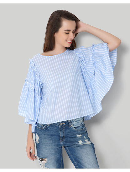 Blue Flared Frill Sleeve Striped Top