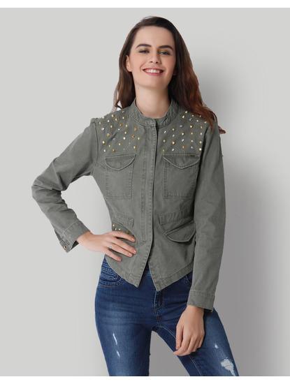 Olive Green Studded Mandarin Collar Jacket