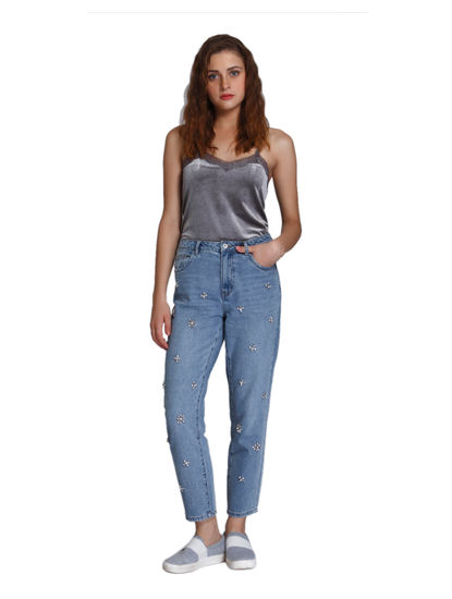 Light Blue Stone Studded High Waist Boyfriend Jeans