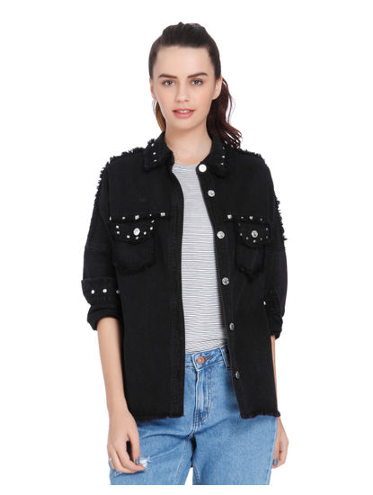 Black Studded Oversized Denim Shirt