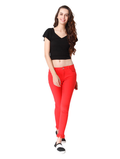 Bright Red Mid Rise Regular Fit Frayed Hem Pants