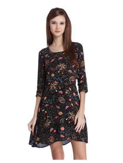 Black Galaxy Graphic Print Mini Dress