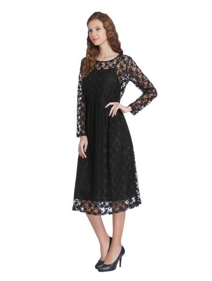 Black Star Mesh Midi Dress