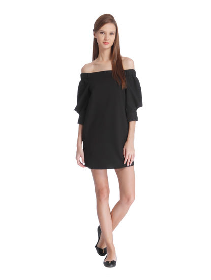 Black Off Shoulder Mini Dress